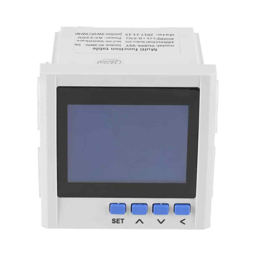 الطاقة متر متعددة الوظائف 3 مراحل الكهربائية الحالي الجهد تردد الطاقة مقياس الطاقة V A Hz كيلووات ساعة RS485 الرقمية مقياس الواط