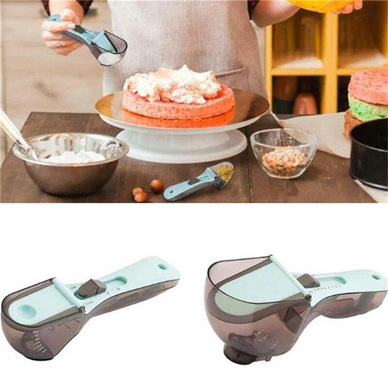 Adjustable Measuring Spoons Plastic Measure Spoon Useful Sugar Cake Teaspoons Kitchen Baking Measuring Tools Kitchen Tools