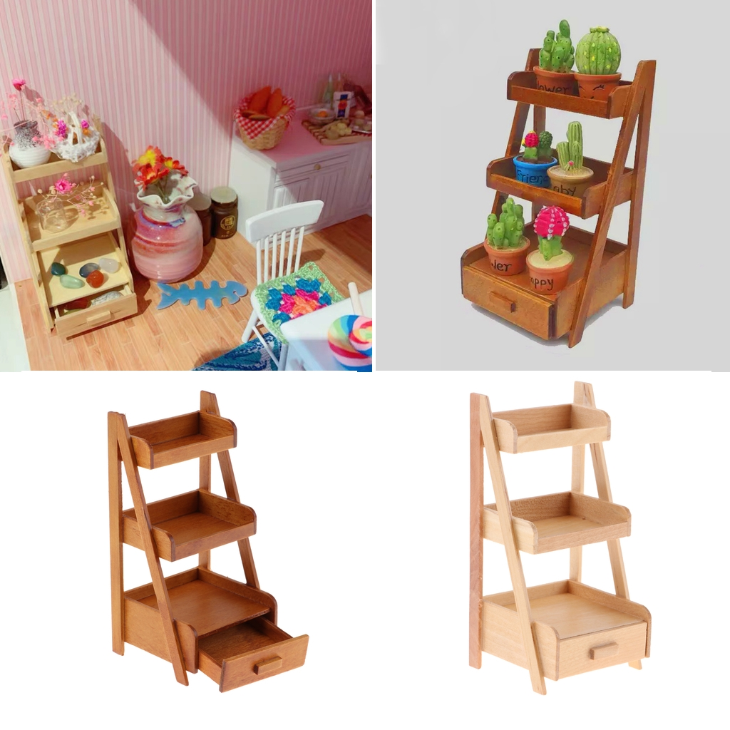 3 Tiers Plants Stand Flower Shelves Rack Planter Holder For 1/12 Dollhouse Indoor Outdoor Garden
