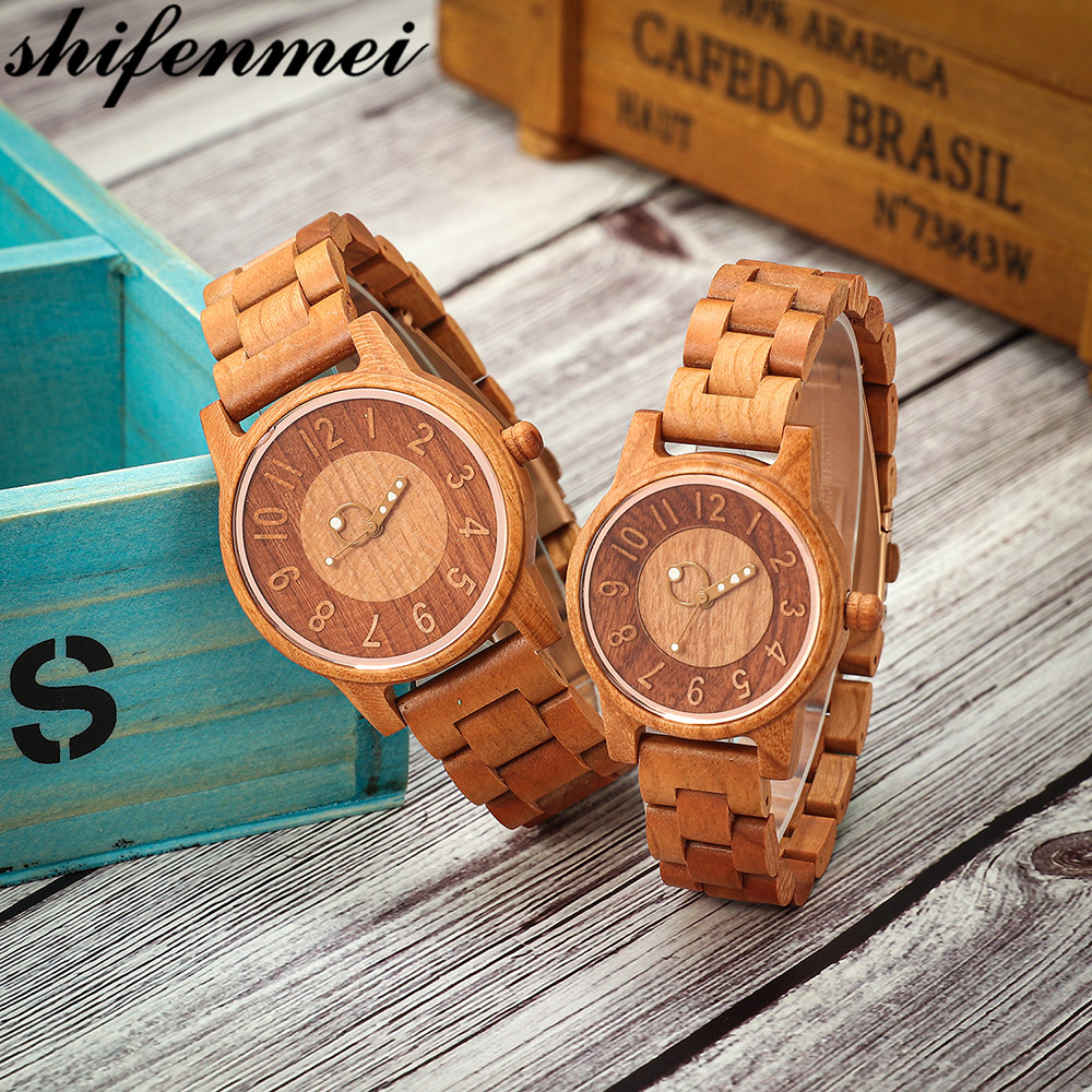 Shifenmei 2019 Couple Wood Watch Fashion Quartz Ladies Wooden Watch Casual Lover Wood Watches Women Men Top Brand Luxury Clock