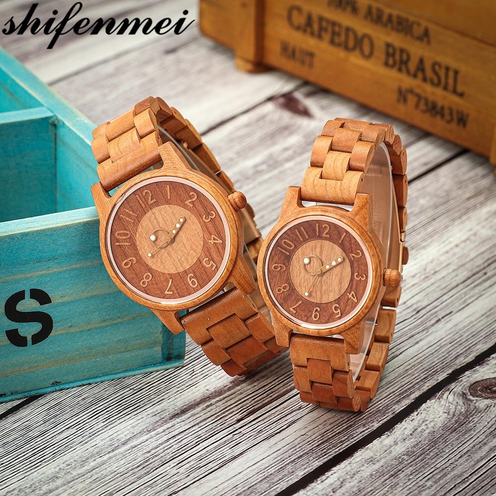Shifenmei 2019 Couple Wood Watch Fashion Quartz Ladies Wooden Watch Casual Lover Wood Watches Women Men Top Brand Luxury Clock