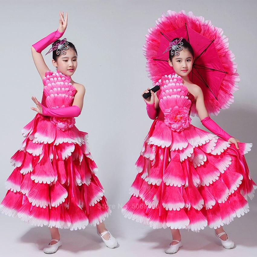2020 Gypsy Girls Spanish Bullfight Flamenco Skirt Belly Dance Dresses For Kids Girl Long Robe Flamenco Peony Petal Dress Costume