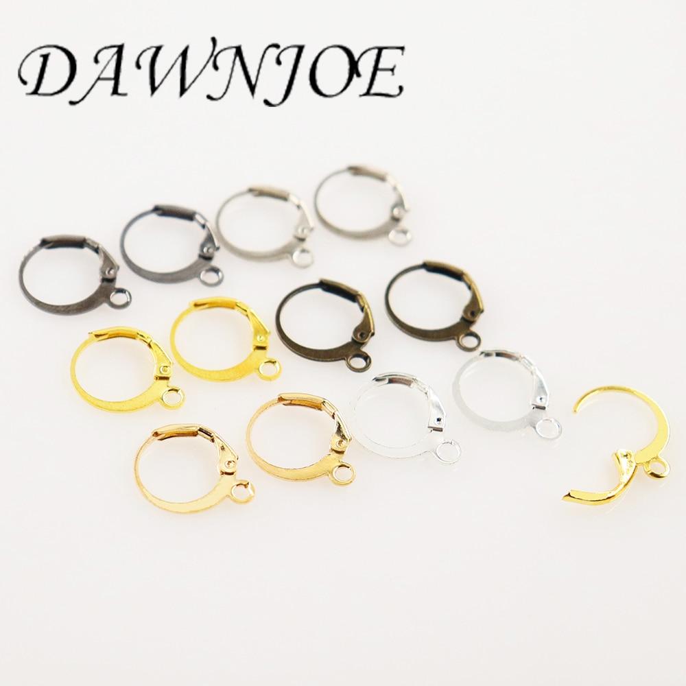 50pcs Silver Gold Bronze French Lever Earrings Hooks Settings Base Drop Earrings DIY Jewelry Making Earrings Findings