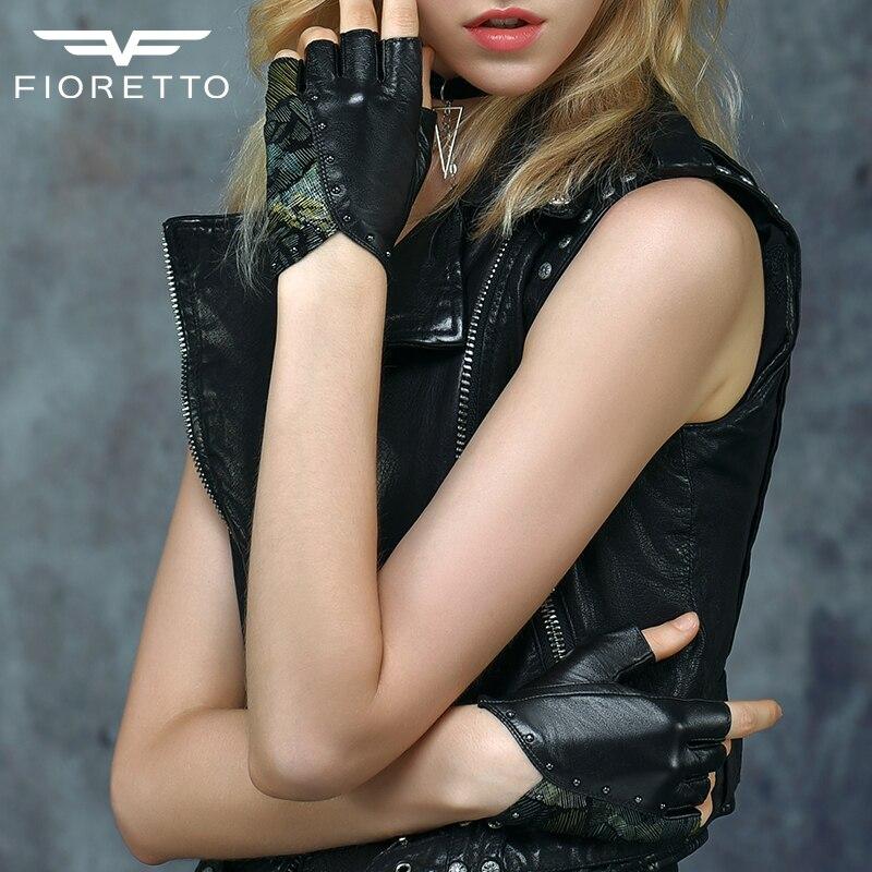 Fioretto  Women Fingerless Driving Leather Gloves Black Half Finger Motocycling Gloves Black Green