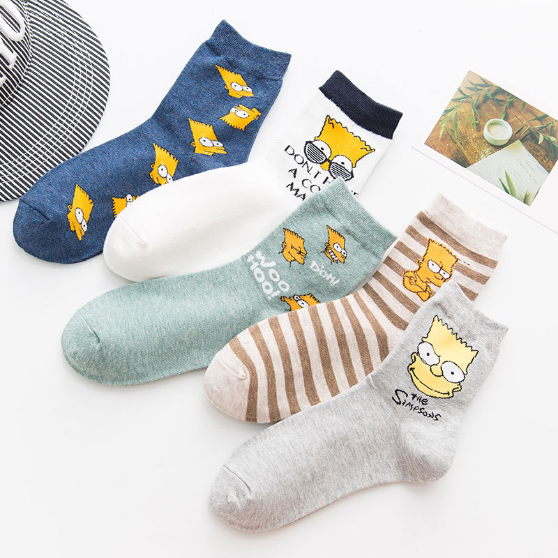 5pairs=10pcs Unisex Men Women Socks Cartoon Cotton Socks Simpsons Family Novelty Kawaii Cute Sock Medias De Mujer Calcetines