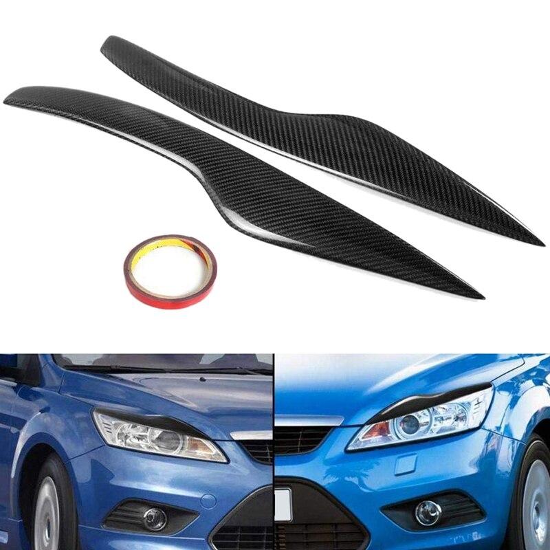 Car Carbon Fiber Headlight Eyebrow Cover Trim Head Lamp Sticker for Ford/Focus MK2 Facelift 2008 2009 2010