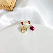 Dominated contracted Asymmetric exquisite multicolor crystal temperament Joker fashion pearl Women Drop earrings 2019 new