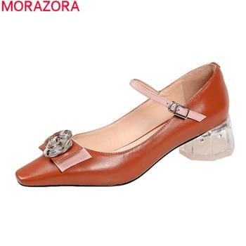 MORAZORA 2020 big size 34-42 classic women pumps fashion transparent thick heels ladies shoes genuine leather dress shoes