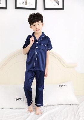 Children Silk Pajamas Summer Pajamas For Girls Kids Pyjamas Softy Boys Sleepwear Baby Clothing Kids Pajama Set 8