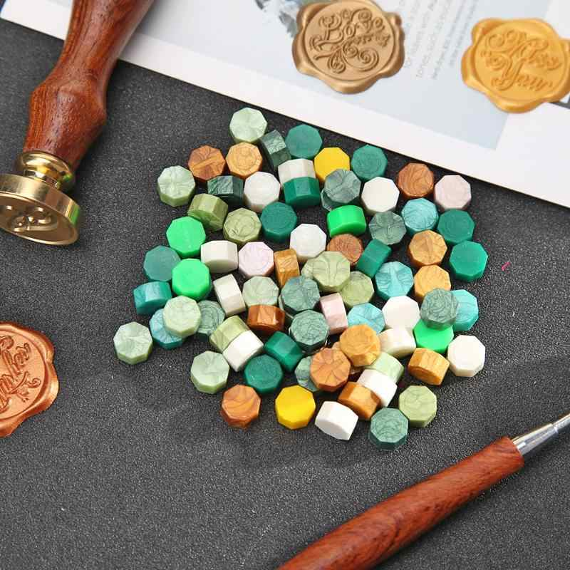 100Pcs Seal Stempel Wax Graan Vintage Octagon Wax Seal Stamp Tablet Pil Kralen Voor Envelop Wedding Wasverbinding Oude zegellak