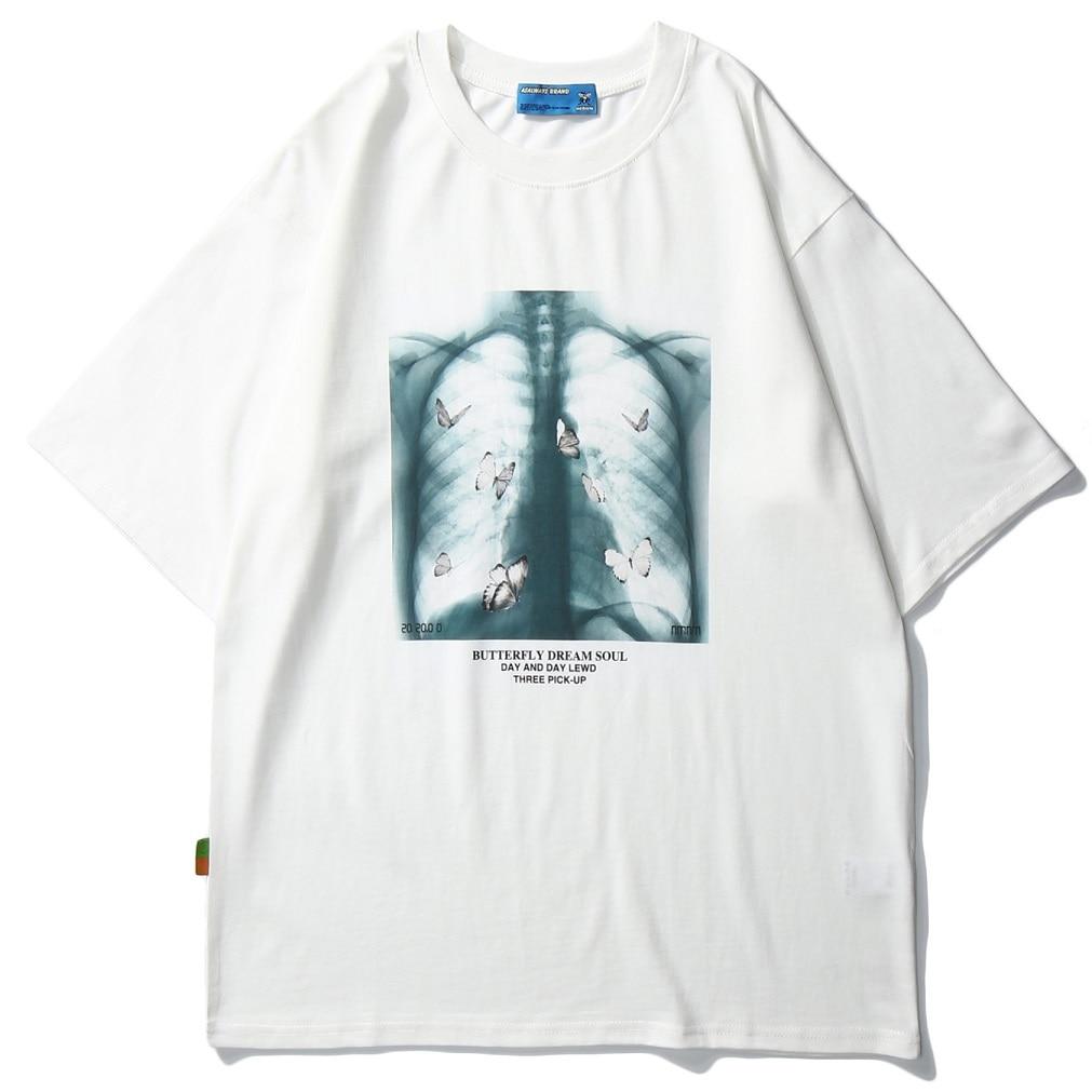 2020 Men Hip Hop T Shirt butterfly Picture Retro T-Shirt Streetwear Harajuku High Street Tshirt Oversized Summer Black WhiteTops