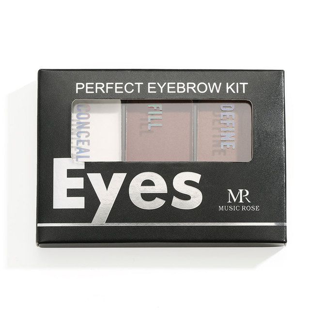 Eyebrow Powder 3 Colors Eye Brow Palette Waterproof Eyeshadow Cosmetic Eye Makeup Professional Powder Cosmetic Tools with Brush 2