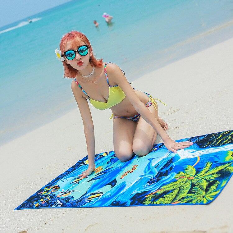 Microfiber polyester printed adult beach towel sports / gym / bath towels microfiber travel sand-free large sauna bathrobe