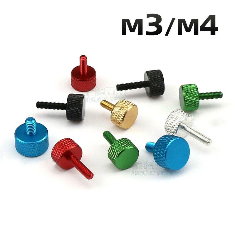 10 шт M3 M4 алюминиевый сплав Шурупы для большого пальца Diy Регулировка шасси винт несколько цветов