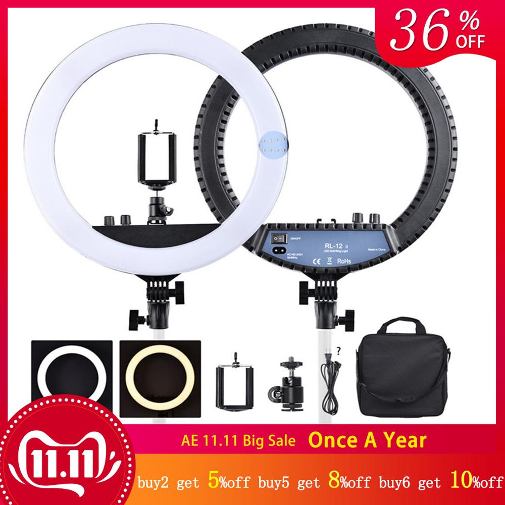 """fosoto RL 12II 14"""" Dimmable Photography light Led Ring Light Bi color 3200 5600K 240 led Ring Lamp For Camera Photo Studio Phone-in Photographic Lighting from Consumer Electronics"""