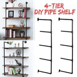 2PCS Black 4 Tier Shelf Industrial Furniture Wall Shelf Bracket Hanging Storage Shelves Iron Pipe Black DIY Pipe Shelves