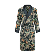 dressing gown men nightgown Men's bathrobe Tiger nightgown Loose wedding robe silky long sleeve Sleep robe Plus Size home wear