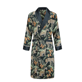 dressing gown men nightgown Men's bathrobe Tiger nightgown Loose wedding robe silky long sleeve Sleep robe Plus Size home wear 2 pieces woman bathrobe full cotton plus size nightgowns set embroidered floral home wear sleep suit female robe sleepshirts new
