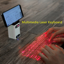 GuardBird Multimedia Laser Keyboard  Mini Portable infrared Qwerty Projection Keyboard USB Bluetooth Connect Powerbank Stand
