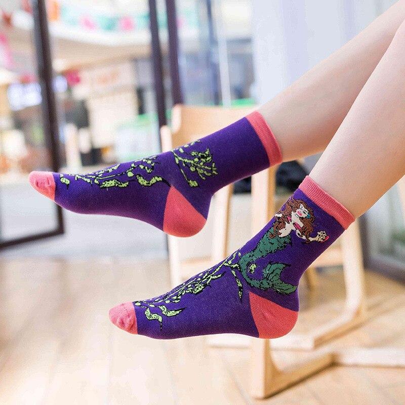 Jeseca Cartoon Animal Print Women Cute Socks 2019 Autumn Winter Fashion Female Harajuku Vintage Streetwear Christmas Sock Gifts