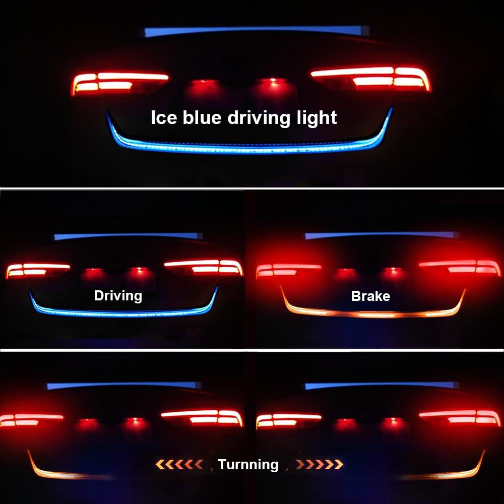 LEEPEE 1.2m 12V Car Rear Trunk Tail Light Dynamic Streamer Lighting Turn Signal Light Reverse Warning Lamp Car LED Strip