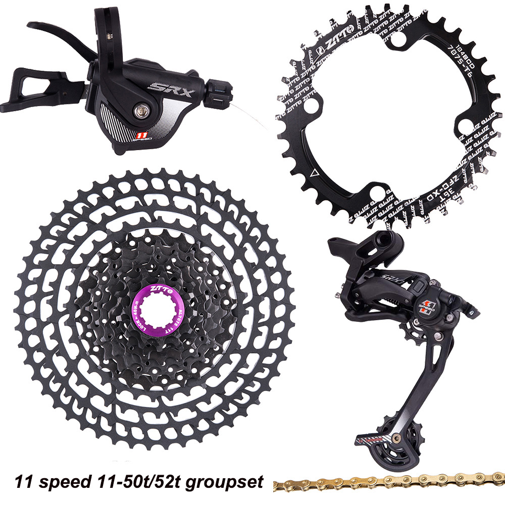 ZTTO <font><b>11</b></font> Speed groupset 11s <font><b>11</b></font>-50T/52T <font><b>cassette</b></font> ultralight 11v 11s shifter derailleur 11s gold chain 116links chainring 32/<font><b>34</b></font>/36t image