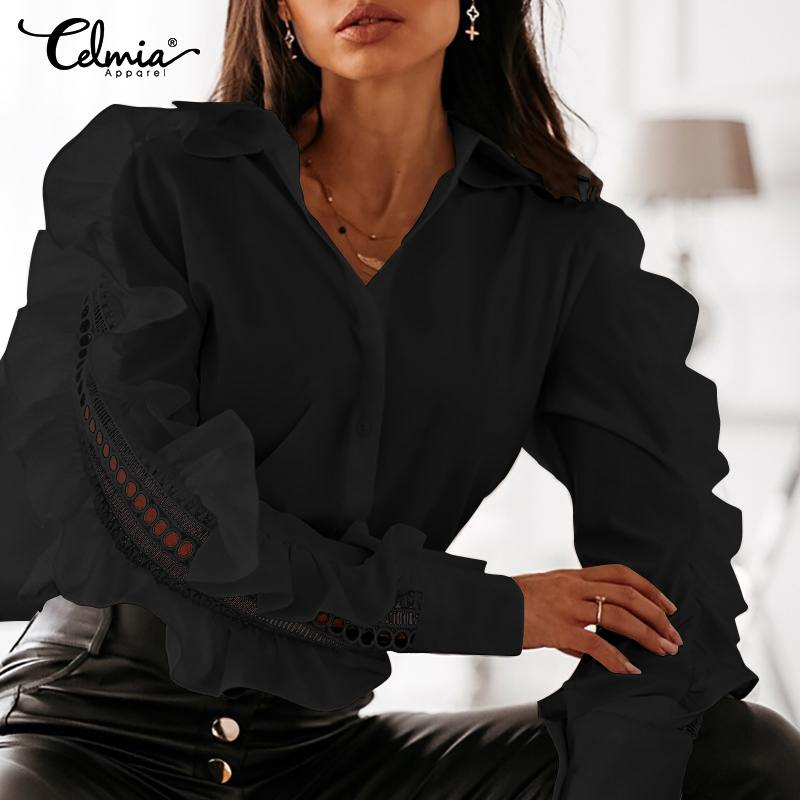 S-5XL Celmia Women Fashion Solid Blouses Casual Long Sleeve Lapel Tunic Tops Ladies Sexy Hollow Out Ruffles Shirt Elegant Blusas
