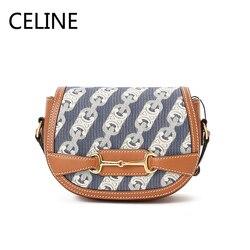 Женская сумка на плечо из телячьей кожи CELINE Textile, Классическая сумка с откидной застежкой, 191362CM8.07AT