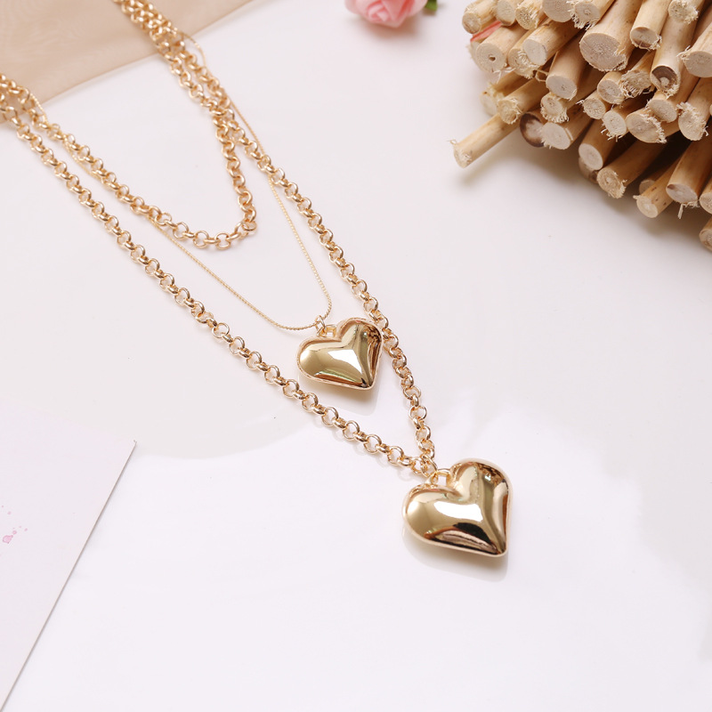 Fashion MultiLayer Heart Pendants Necklaces For Women Gold Metal Punk Necklace New Design Jewelry Gift