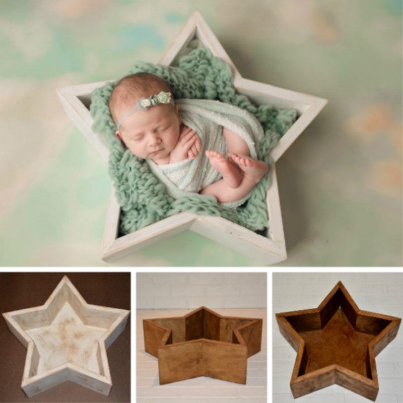 Newborn Photography Props Mini Baby Wooden Bed Baby Shoot Container Five-pointed Star Bed Photo Studio Posing Prop Creative Prop