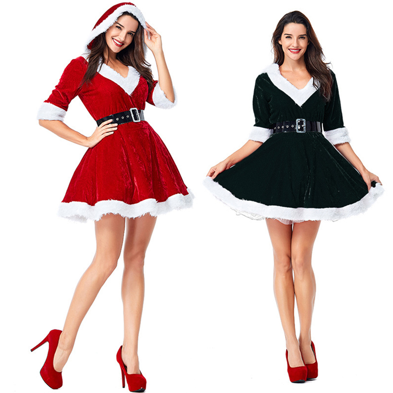 Winter Snowman Christmas Cosplay Charming Dress Women Clothing Red Black Hooded Tennis Dress Sexy V-Neck Patry Dresses