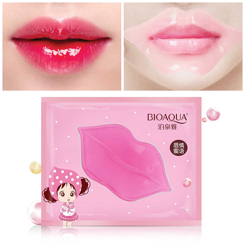 1PC cristal collagène lèvre masque tampons humidité Essence Anti-âge rides Patch Pad Gel plein rehausseur soin des lèvres TSLM2