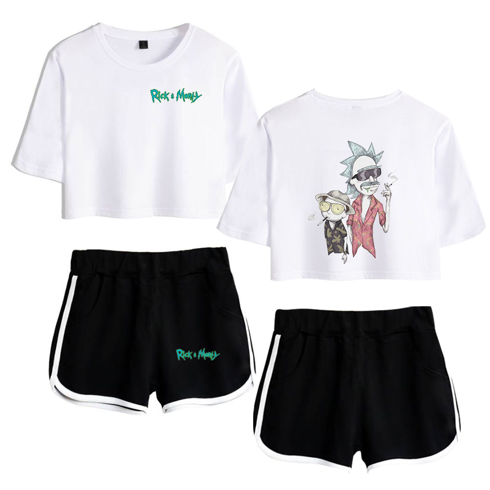 2019 Animated Sitcom Rick And Morty Rick Sanchez Morty Smith Print Women Two Piece Set Shorts+lovely T-shirt Hot Sale Clothes