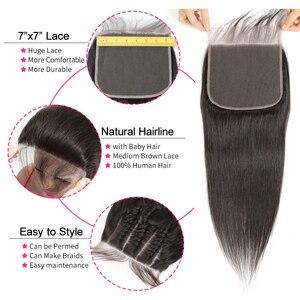 Image 3 - גבריאל שיער ברזילאי ישר 7x7 סגירת שיער טבעי תחרה סגר עם תינוק שיער שוויצרי תחרה 8 22 צבע טבעי רמי שיער