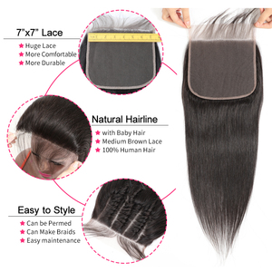 Image 3 - Gabrielle Hair Brazilian Straight 7x7 Closure Human Hair Lace Closure with Baby Hair Swiss Lace 8 22 Natural Color Remy Hair