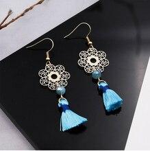 Hello MissFashion hollow flower tassel earrings temperament wild new long womens jewelry clothing accessories