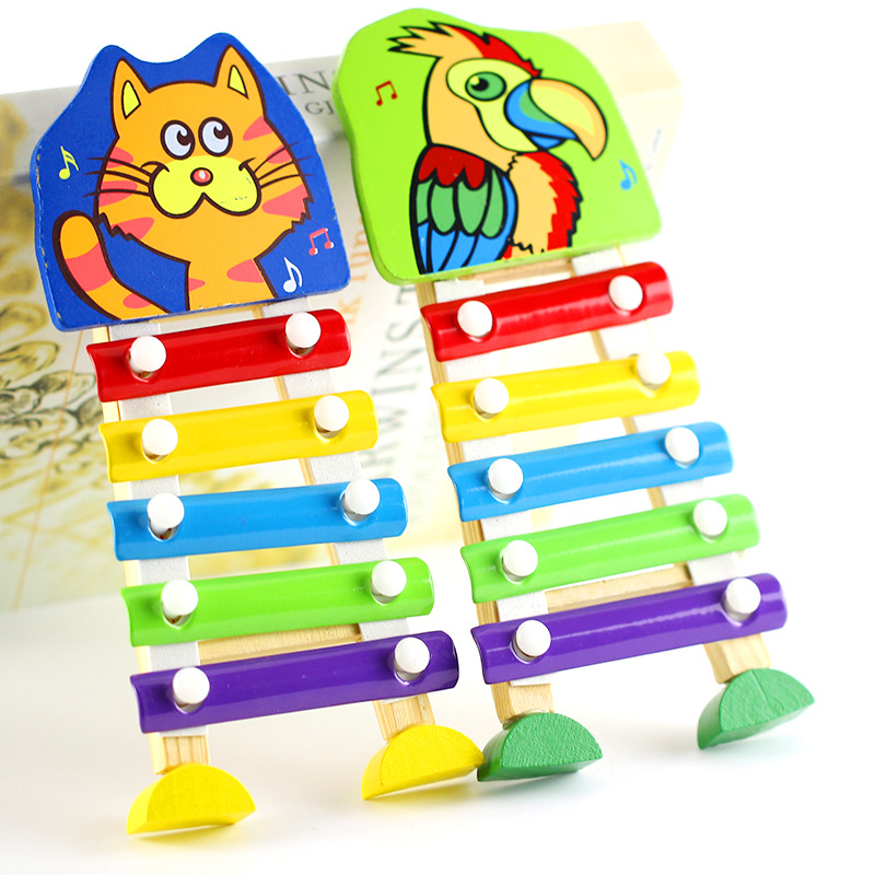 1-4-Year-Old GIRL'S And BOY'S Baby Wood Music Toy Infants Children Wooden Animal Five-Tone Toy Piano Xylophone