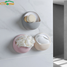 Creative Suction Cup Drain Soap Box Plastic Holder Soap Dish Case Storage Rack Strong Sucker Bathroom Kitchen Tools Accessories