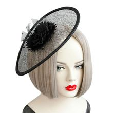 Women Fascinator Party Round Black Flower Hairclip Top Hat Net Veil Hairband Kit