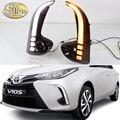 2PCS LED Tagfahrlicht Für Toyota Vios 2020 2021 Dynamische Gelb Signal Relais Auto 12V LED DRL Tag Licht