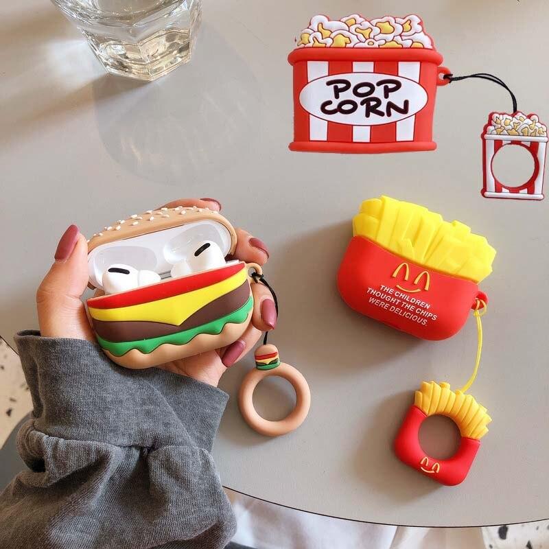 Funda de dibujos animados de hamburguesa para airpods Pro 3 Wireless Bluetooh ear phone carga patatas fritas airpod anillo suave de silicona air pods Skin