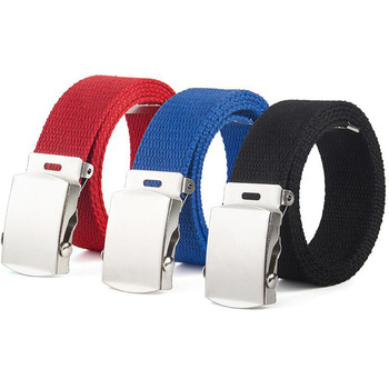 New High Quality Canvas Belt Men And Women Jeans Top Casual Luxury Strap Metal Buckle Belts accessories