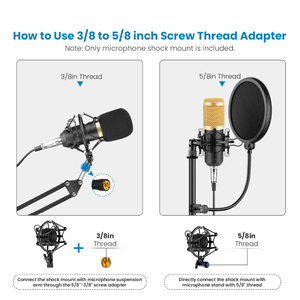 Image 5 - bm 800 Microphone Suspension Scissor Arm Stand Shock Mount Universal Computer Microphone Stand Table Mounting Clamp Pop Filter