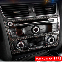 For Audi A4 B8 A5 Accessories Carbon Fiber Car Interior Navigation Air Conditioning CD Control Panel LHD Styling Stickers 1 pc carbon fiber car interior trim control panel stickers for audi q5 10 17