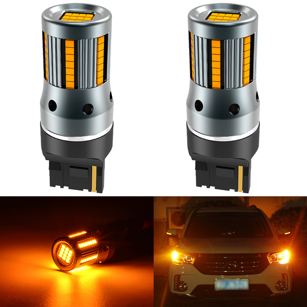 2 個 T20 W21W WY21W 7440 7440NA Led ターン信号光電球 Can バスエラー無料いいえハイパーフラッシュアンバーイエロー p21W ba15s T25 3156信号ランプ   -
