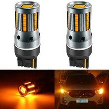 2 adet T20 W21W WY21W 7440 7440NA led sinyal lambası ampuller Canbus hata ücretsiz yok Hyper flaş Amber sarı P21W ba15s T25 3156