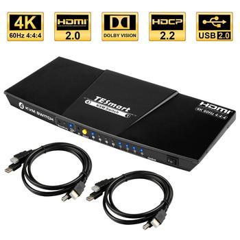 TESmart HDMI 4K@60Hz High Quality HDMI KVM Switch 4 Port USB KVM HDMI Switch Support 3840*2160/4K*2K@60Hz Extra USB2.0 Port d lin k dkvm 4k 4 port kvm