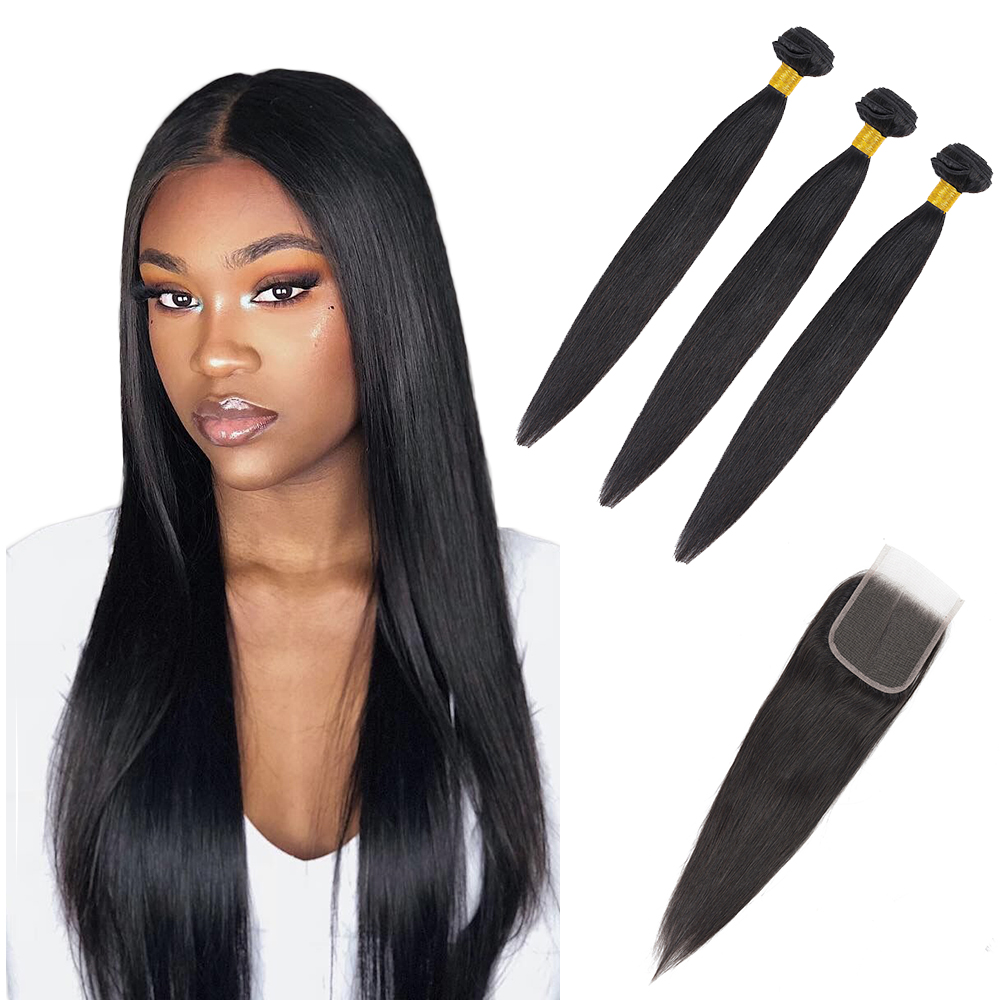 Brazilian Straight Hair Weave 3/4 Bundles With 4*4 Lace Closure Free Part Human Hair Bundles With Closure Non Remy Hair