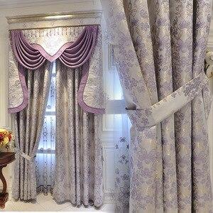 Cortina Jacquard de lujo de estilo europeo, cortina de tela Jacquard de lujo con sombreado para ventana, cortinas para sala de estar y dormitorio