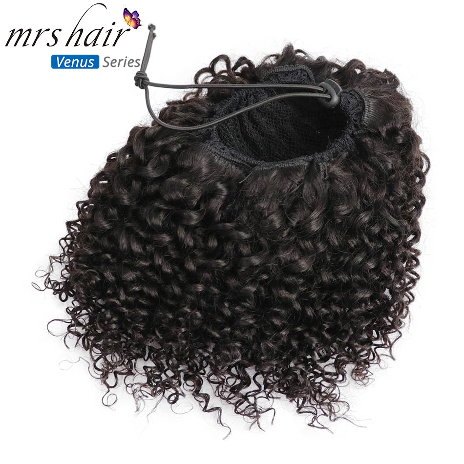 MRSHAIR Afro Kinky Curly Ponytails Puff Virgin Hair For Black Women 4b 4c Coily Drawstring Perruque Cheveux Clip In